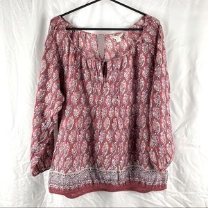 American Eagle Outfitters Mid Sleeve Floral Peasant Blouse Top Size XL